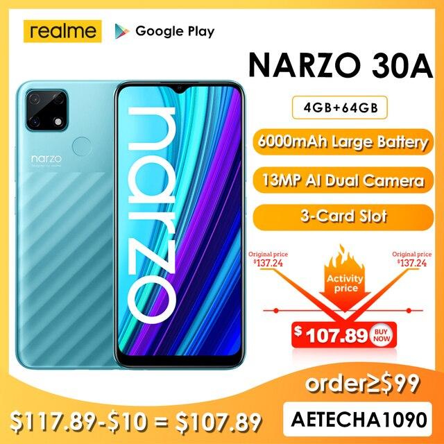 Realme narzo 30a versão global smartphone 4gb 64gb helio g85 6.5 Polegada fullscreen 13mp ai câmera dupla 6000mah 18w carga rápida 1