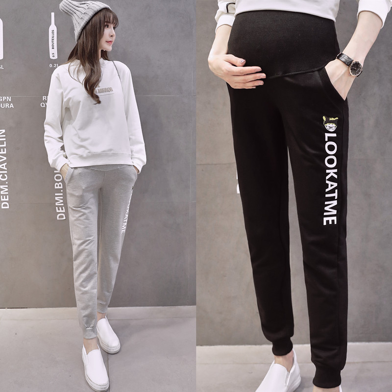 Maternity Pants Autumn Printed Clothes For Pregnant Women Candy Color Pregnancy Casual Pant Fashion 2019 Trousers Female