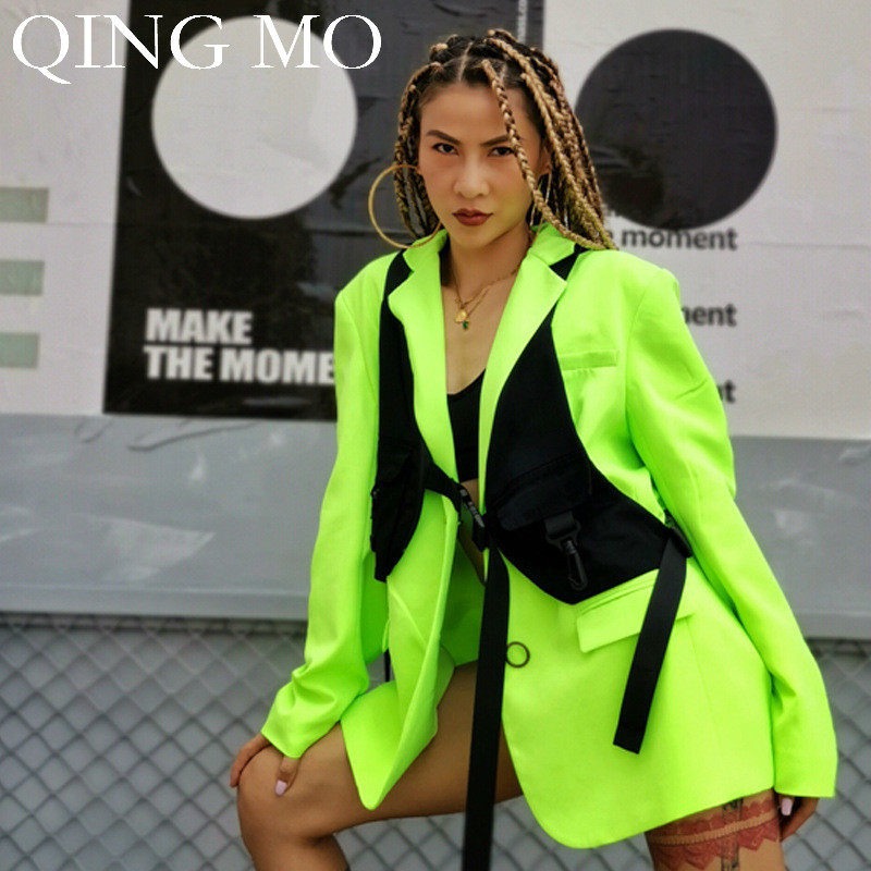 QING MO Women Green Solid Coat 2019 Autumn Fashion Women Casual Style Trench Coat Single Breasted Closure Coat ZQY1365