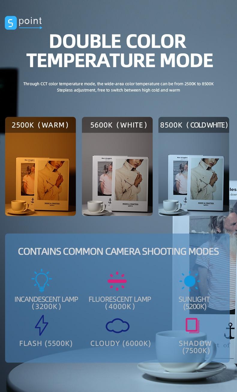 H1b7ff4295dcd4c13b20ba1610be35f94V soonpho RGB LED Camera Light Full Color Output Video Light Kit Dimmable 2500K-8500K Bi-Color Panel Light CRI 95+