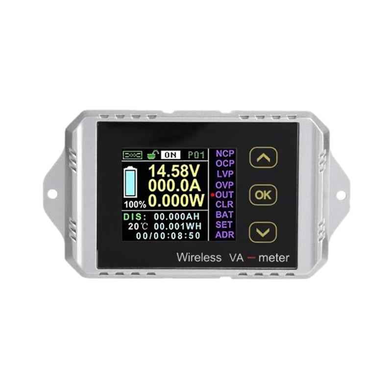 Multi-Function DC Meter , USB Voltage Tester Wireless Color LCD Screen DC Voltage Ammeter Power Meter Watt Tester VAT-1050