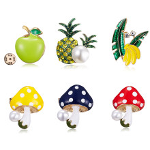Kartun Buah Bros Apple Pisang Mutiara Jamur Pine Apple Bros Wanita Enamel Pin Lapel Pin Fashion Perhiasan Pengantin Pernikahan(China)