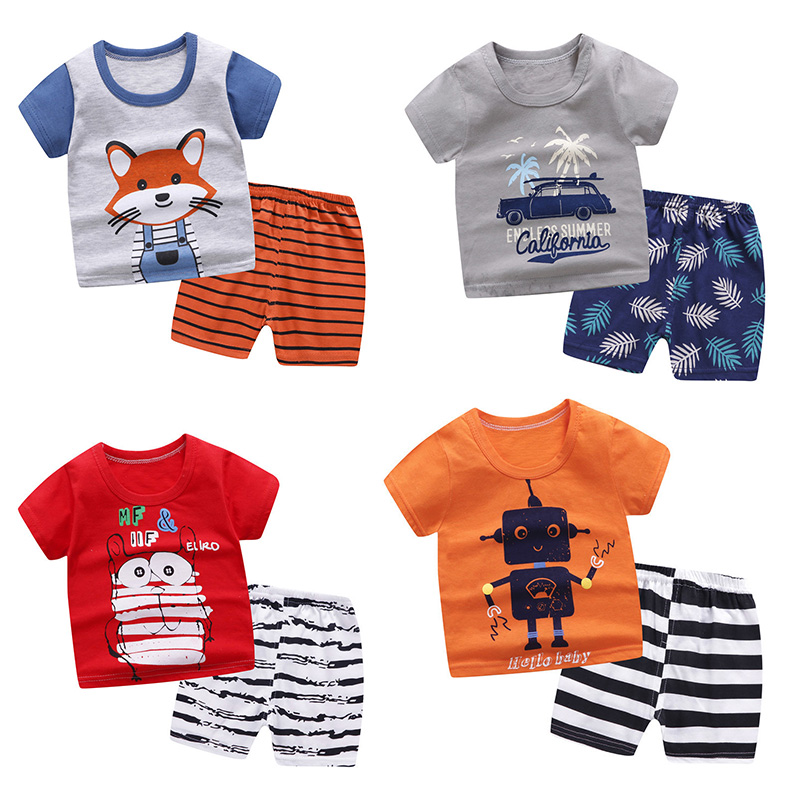 New Arrival Summer Toddler Boys Kids Clothes Robot Print Short Sleeve T-shirt + Shorts 2 Piece Set Baby Boys Girls Clothing Sets