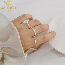 ASHIQI Natural Freshwater Pearl 925 sterling silver Bead Ring 2-3mm mini pearl Jewelry Accessories Women 2020 New(China)