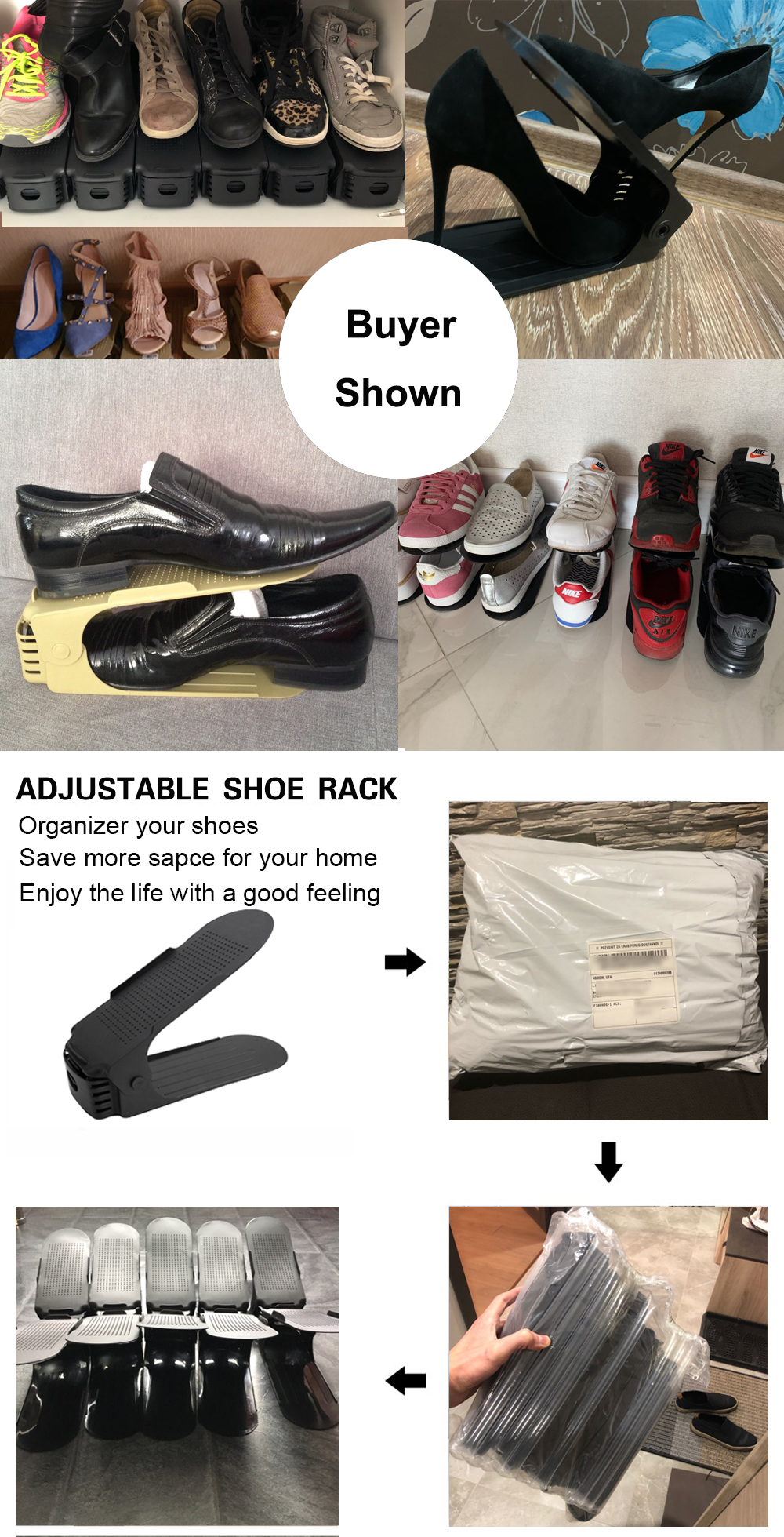 Adjustable Space Saving Shoe Organizer