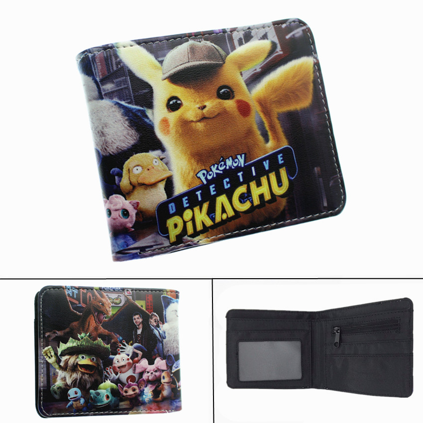 Pokemon Detective Pikachu Wallet Anime PU Short Bifold Photo Card Holder Layers Purse Mens Womens Zip Coin Pocket Leather Gift