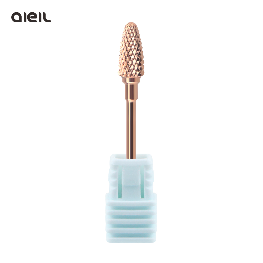 Rose Gold Coating Tungsten Carbide Rotary Burr Nail Drill Bits  Electric Cutter For Manicure Machine Nail Accessories Drill Tool