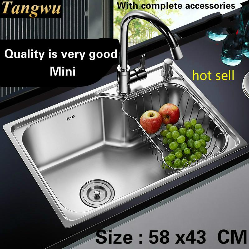 Free Shipping Food Grade 304 Stainless Steel Hot Sell Kitchen Sink 0.8 Mm Thick Ordinary Single Trough Washing Dishes 58x43 CM