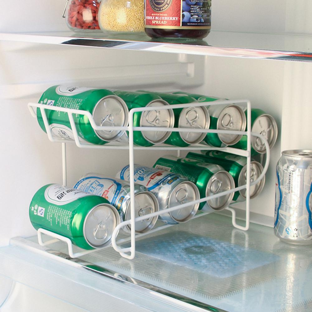 2 Layers Tabletop Storage Rack For Refrigerator Drink Can Beer Cola Shelf