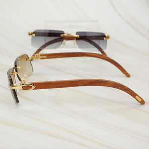 Image 4 - Wooden Retro Rimless Sunglasses Men Women Sun Glasses for Driving Fishing Luxury Carter Glasses Frame Wood Sunglasses for Male