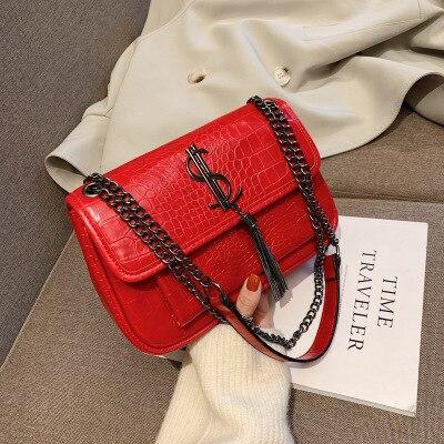 Sacs pour femmes 2019 nouvelle version coréenne sauvage pierre modèle sac de messager mode rhombique chaîne gland orgue sac sac main femme