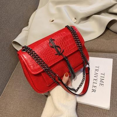 Bags For Women 2019 New Korean Version Wild Stone Pattern Messenger Bag Fashion Rhombic Chain Tassel Organ Bag Sac Main Femme