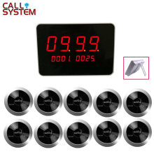 Restaurant Waiter Calling System Wireless Table Bell Pagers 1 host receiver 10 Call Transmitters with Voice Broadcast 2 3 alphanumeric display receiver host 433mhz with touch screen voice broadcast for restaurant ordering system queue management