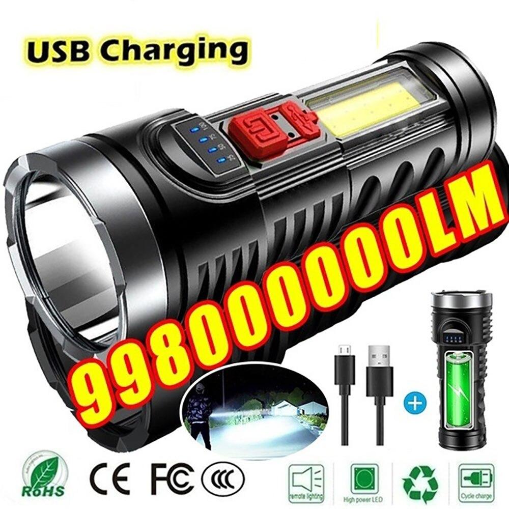 Ngoài Trời Đèn Pin Xách Tay Đèn Pin LED Siêu Sáng Tầm Xa USB Sạc Nhỏ Đèn  Xenon Đèn Chiến Thuật Hộ Gia Đình Ánh Sáng|Flashlights & Torches