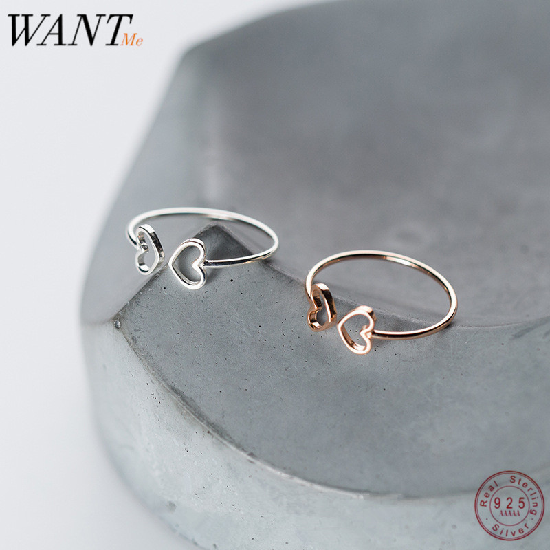 WANTME Genuine 925 Sterling Silver Opening Adjustable Hollow Love Heart Minimalist Fashion Rings For Women Party Office Jewelry