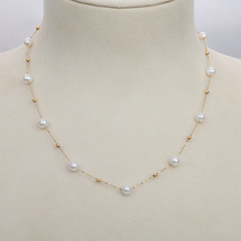 Necklace Jewelry Gold Link-Chain Natural-Freshwater-Pearl 18K Women Lnngy for Engagement