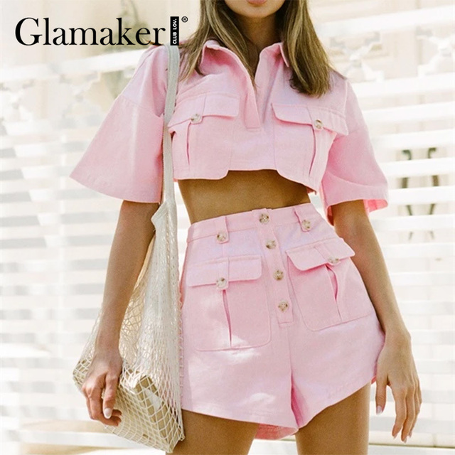 Glamaker Sexy pink short sleeve set female crop top and shorts 2 piece suits with pocket Office ladies elegant co ord outfits 1