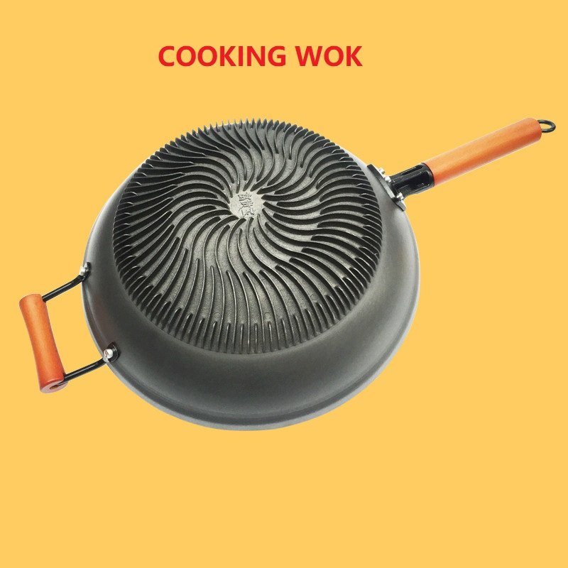 13inch 34cm Cast Iron Skillet Cast Iron Wok Household Thickening Gas Uncoated Non-rust Cooking Non-stick Pan Cooking Wok