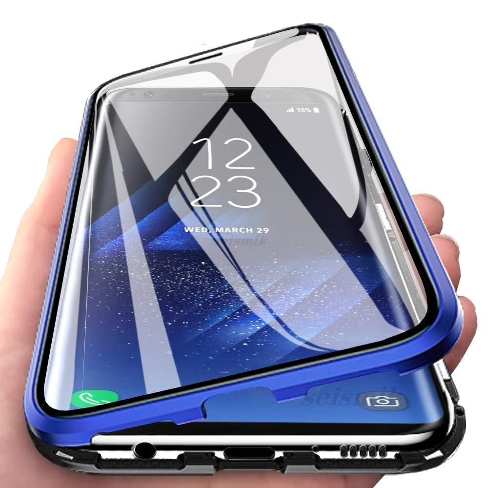 Double-sided Magnetic Full Protect Case For <font><b>Samsung</b></font> Galaxy <font><b>A7</b></font> A8 A9 2018 A10 A50 A70 A20 A30 A51 A71 Tempered <font><b>Glass</b></font> <font><b>Back</b></font> <font><b>Cover</b></font> image