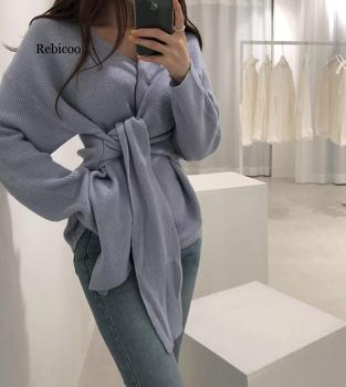 цена на Fashion New Sweater Women Autumn Winter Ladies Solid Long Sleeve V-Neck Bandage Tie Sweater Fall Womens Oversized Pullover