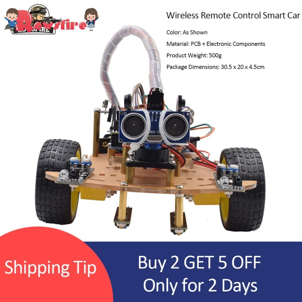 Rowsfire Wireless Remote Control Smart Car Infrared Control Robot Car For Arduino High-teach Programmable Toy For Children Adult