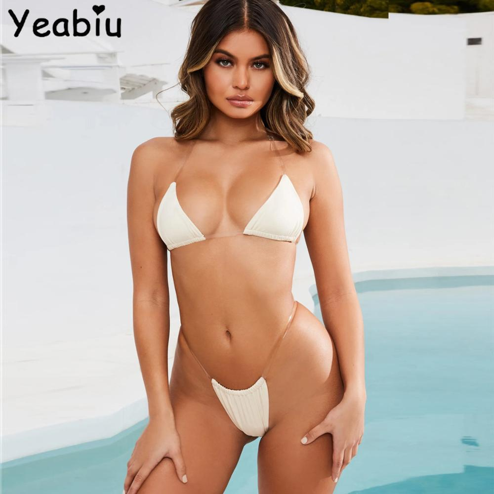 Sexy Bikini Push Up Pad Swimsuit Woman Two Pieces Clear Sling Swimming Strap Shoulder Swimwear Female Bathing Suit Bikini Set