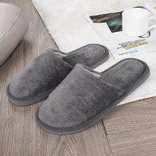New Winter Warm Cotton Slippers 2020 Fashion Men Plush Soft Slippers Home Bathroom Warm Slides Non-slip Shoes Plus Size FN55
