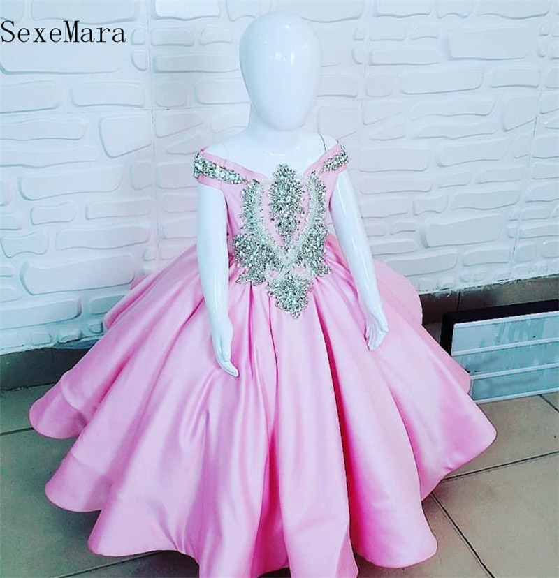 SexeMara Pink Satin Sparkly Crystals Beading Baby Girls Clothes For Birthday Party Off The Shoulder Kids Pageant Gown