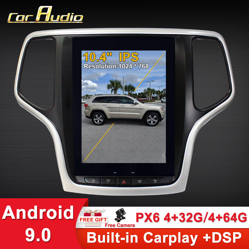 Android 9.0 4GB Tesla style Car GPS Navigation For JEEP Grand Cherokee 2014-2019 gold sliver black head unit multimedia player image
