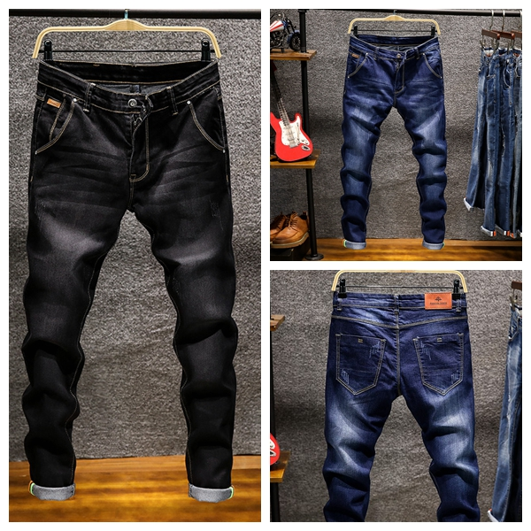 NIBESSER Jeans Men Pants Trouser Slim-Fit Biker Vintage Street Male Casual Hip-Hop Solid