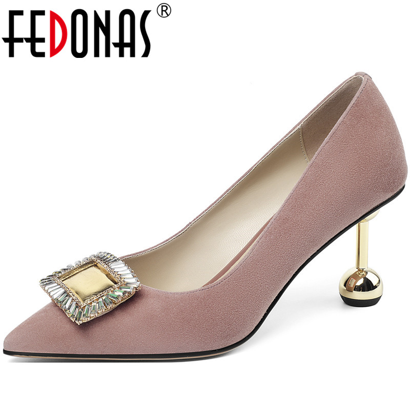 FEDONAS Vintage Women High Heeled Party Genuine Leather Point Toe Shoes New Fashion Crystal Metal Decoration Shoes Woman