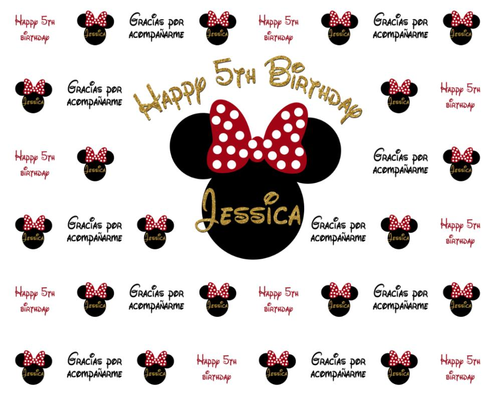Custom Minnie Mouse Black And Gold Step And Repeat Baby Shower Background Computer Print Party Photo Backdrop