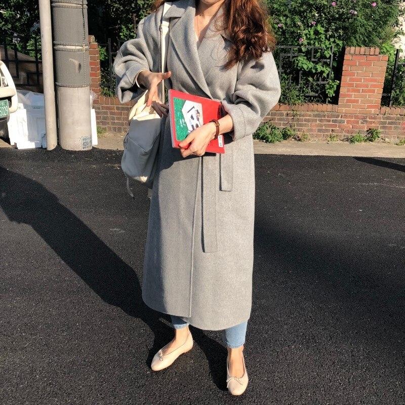19 Winter Oversize Long Trench Coat Women Cashmere Coat Korean Lady Windbreaker Outwear Streetwear 34