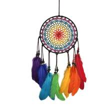 Nordic Dream Catcher Wind Chimes Rainbow Feather Dream Catchers Handmade (China)