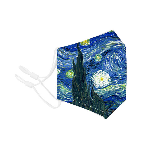 The Starry Night Printing Reusable Protective PM2.5 Filter Mouth Mask Anti Dust Face Mask Mouth-muffle Bacteria Proof Flu Mask 3