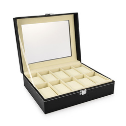 3/6/10/12 siatki PU Leather Watch Box Case profesjonalny uchwyt organizator do zegarków zegarki pudełka na biżuterię Case Display best gift