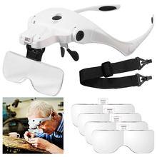Loupe de lunettes 1.0X 1.5X 2.0X 2.5X 3.5X, Loupe réglable à 5 lentilles avec bandeau, rechargeable