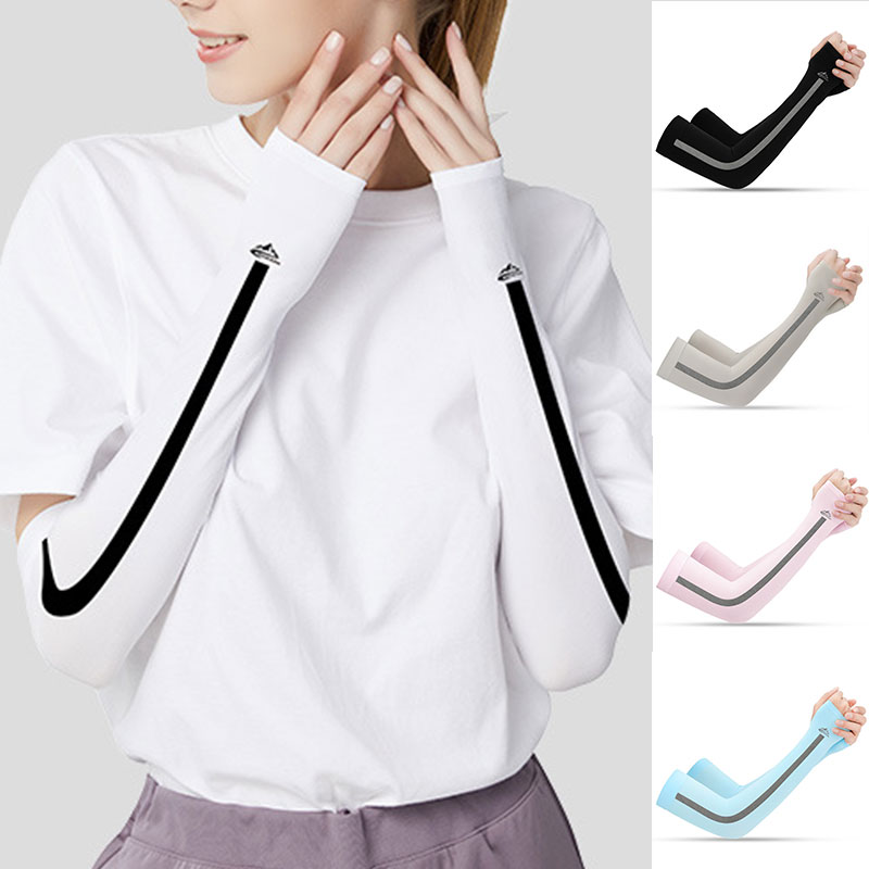 Riding Sunscreen Arm Sleeves  Arm Warmers Ice Silk Breathable Unisex Cuff Cool Sleeves Outdoor Sport Run Arm UV Protection Cover