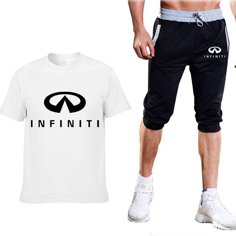 New 2020 Summer Men T Shirts INFINITI Car Logo Print Light Casual Cotton Short Sleeve Crew Neck Men T-shirt Pants Suit