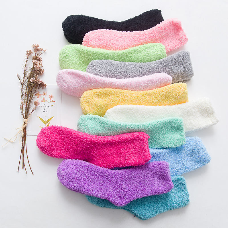 New Arrivals High Fashion Cute Socks Women Bed Socks Pure Colorful Fluffy Warm Winter Kids Gift Soft Floor Home Funny Socks