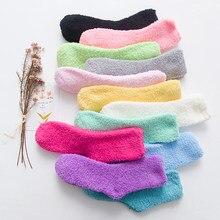 Nova chegada alta moda bonito meias femininas meias de cama puro colorido fofo quente inverno crianças presente macio chão casa dormir meias
