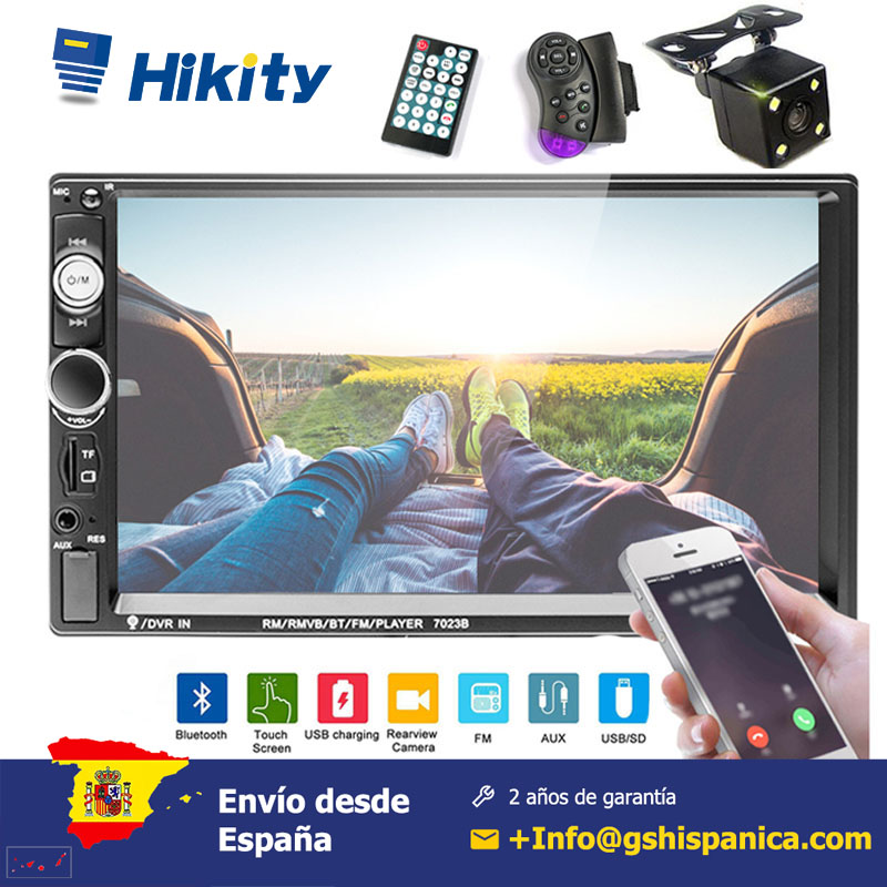 Hikity 7 ''Car Radius HD Player MP5 Touch Screen <font><b>2</b></font>-din support Mirror Link Bluetooth Multimedia Build-in autoradio FM AUX <font><b>USB</b></font> SD image