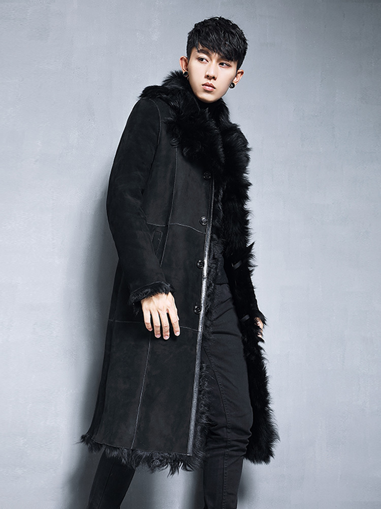 Men's Natural Fur Coat Long Winter Genuine Leather Jacket Men Real Sheepskin Coat Shearling Jackets XZ-N-198178 KJ3856