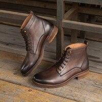 2020 Fashion Chelsea Boots Men Vintage Style Genuine Leather Mens Boots Back Zipper Lace up Short Boots Hot zapatos de hombre