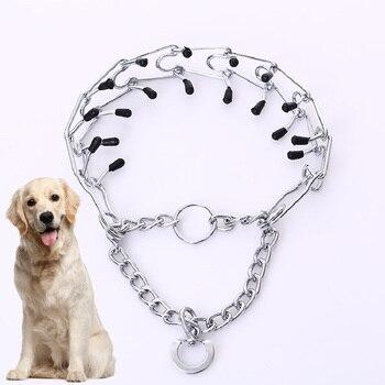 Nuevo Collar de perro extraíble ajustable tamaño entrenamiento para perro grande P cadena mascota grande Collar de tren de Metal cromado DXQA22