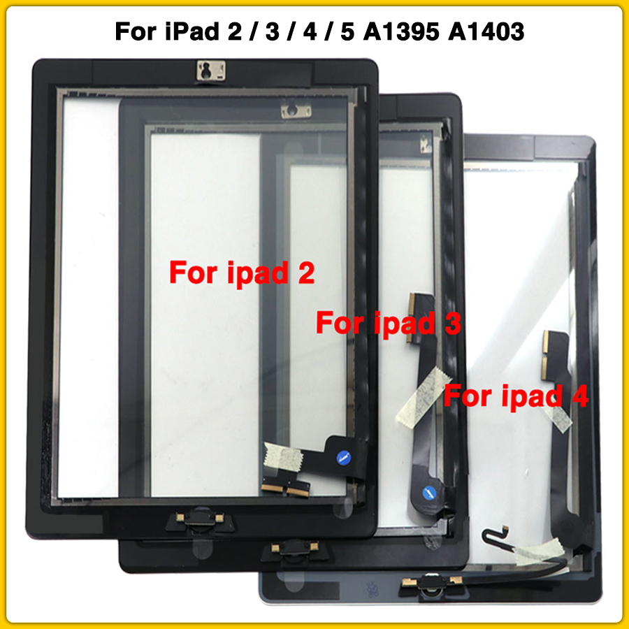 Touchscreen For IPad 2 3 4 5 A1395 A1403 A1458 A1474 Touch Screen Panel Digitizer Sensor Front Glass With Home Button For IPad 5