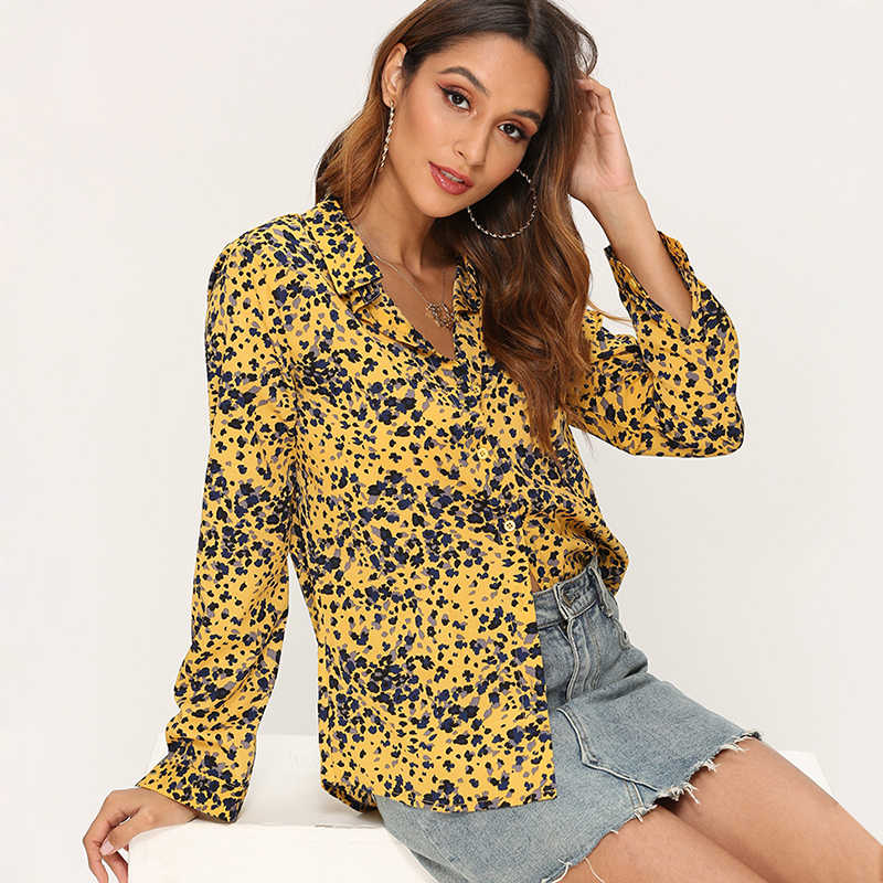 Kadınlar çizgili bluzlar uzun kollu şifon bluz Turn Down yaka bayan ofis gömlek Casual Tops Blusas bluz et Chemisier Femme