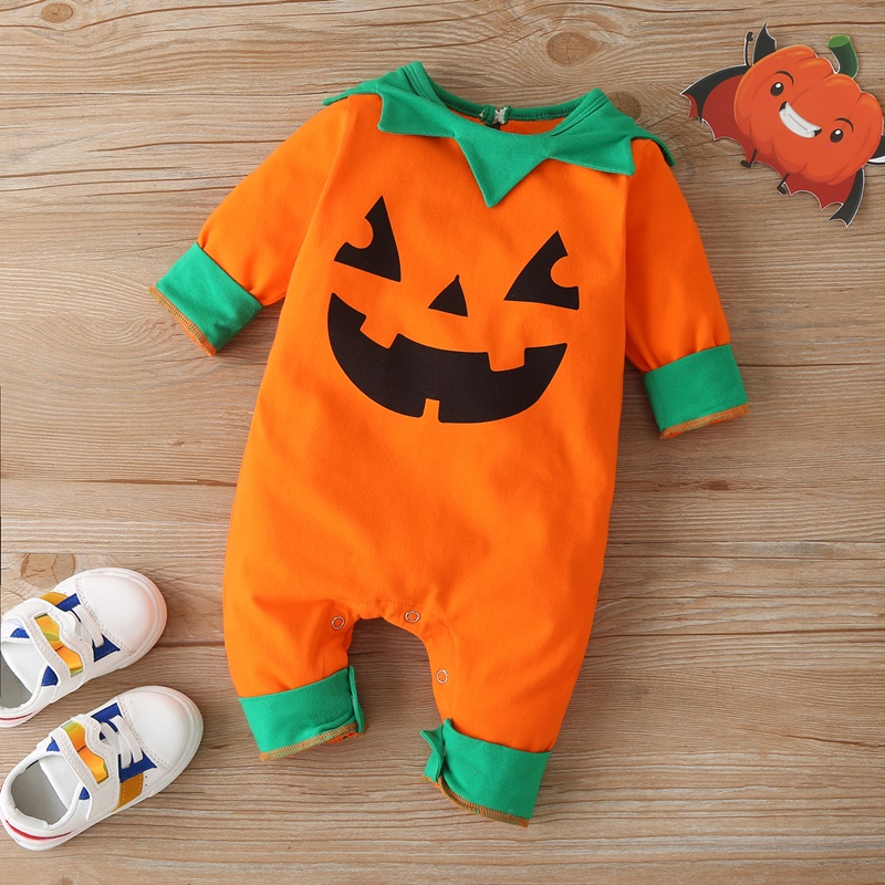 Купить new halloween baby girl clothes cute pumpkin smile print leaf
