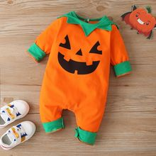 New halloween baby girl clothes cute pumpkin smile print leaf