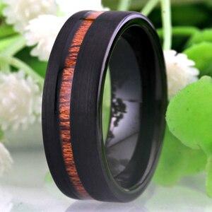 Image 1 - Bruiloft Sieraden Ringen Forwoman Mannen Hout Inlay Ring Nieuwe Tungsten Ringen Voor Mannen Bruidegom Bruiloft Engagement Anniversary Ring